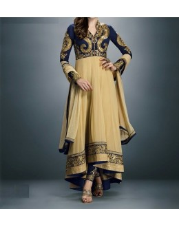 Party Wear Gorgeous Chikoo Georgette Salwar Suit - EF152