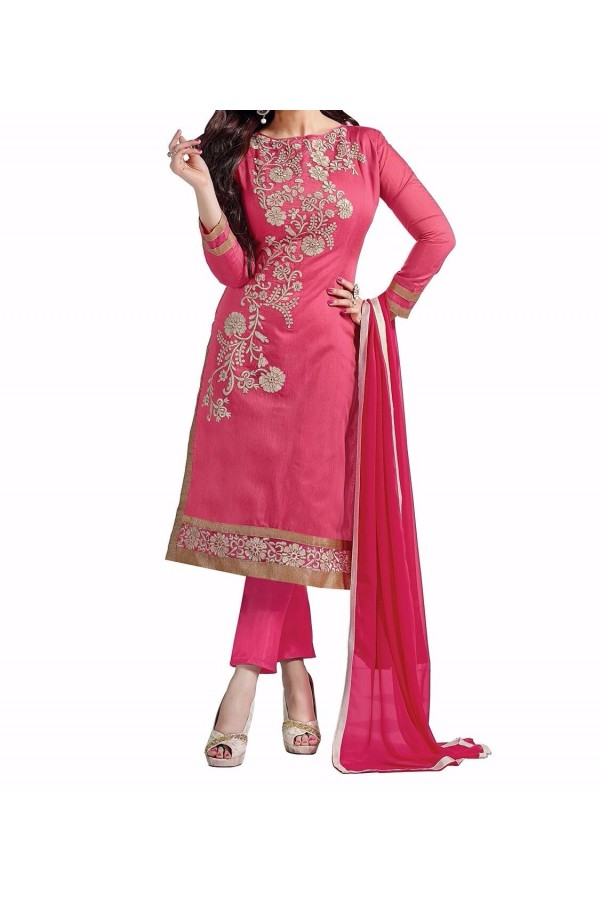 Party Wear Pink Georgette Salwar Suit - EF133