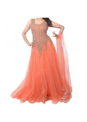 Party Wear Orange Georgette Salwar Suit - EF102