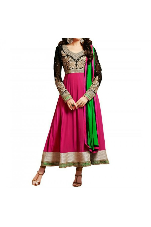 Party Wear Pink Georgette Salwar Suit - EF088