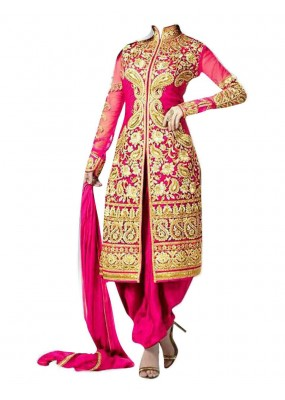 Party Wear Pink Georgette Salwar Suit - EF139