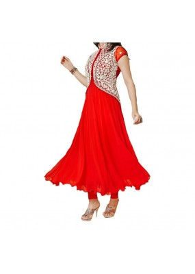 Party Wear Red Georgette Salwar Suit - EF125