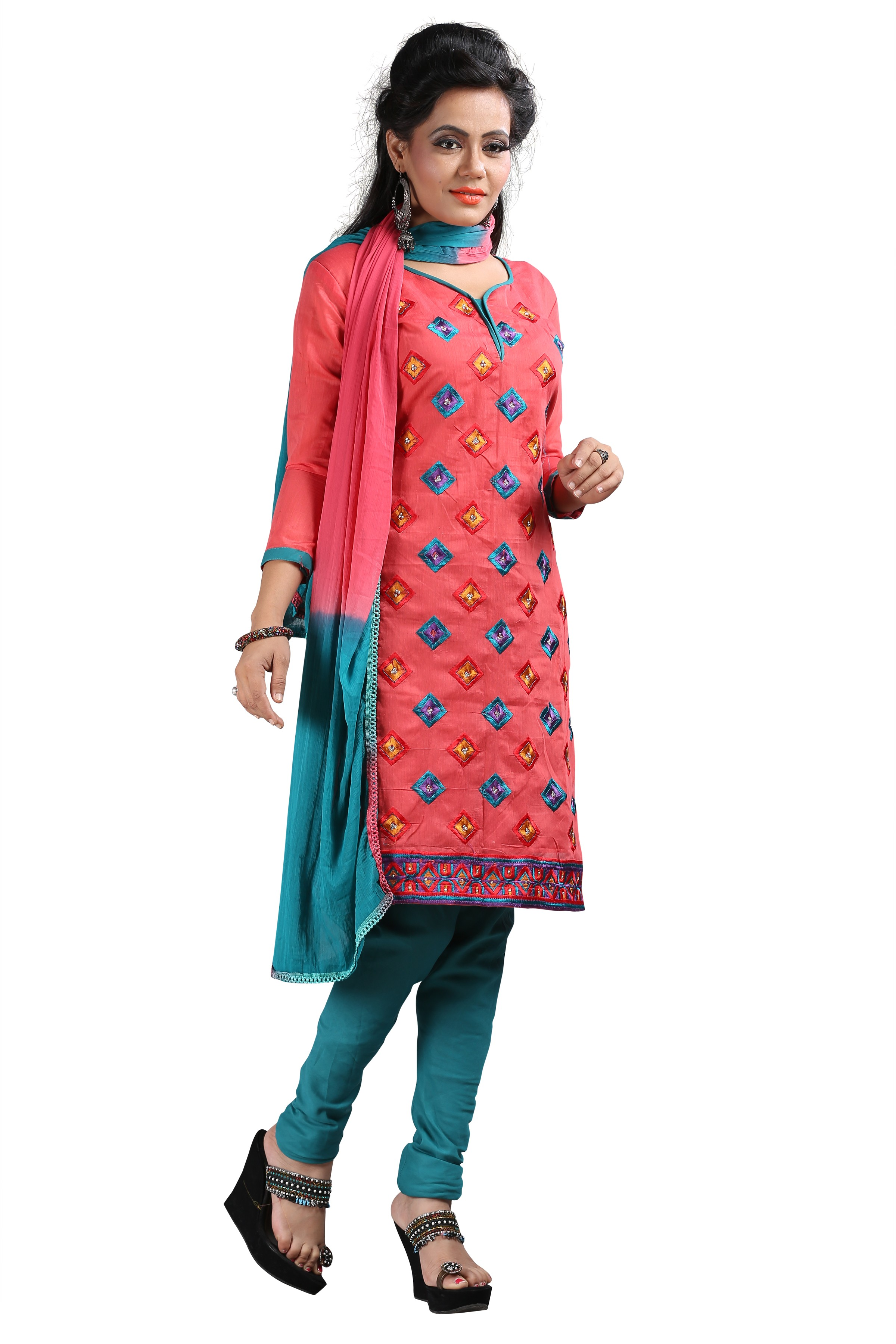 Party Wear Red Georgette Salwar Suit - EF135