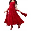 Party Wear Red Net Salwar Suit - EF086