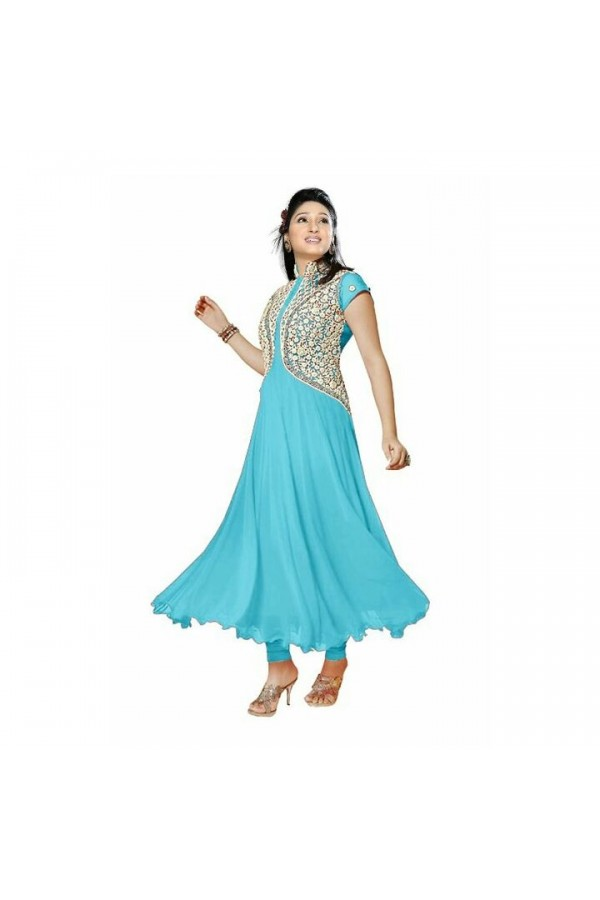 Party Wear Sky Blue Georgette Salwar Suit - EF126