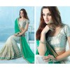 Designer Green & Cream Embroidered Net Viscose Saree - 3003 ( SS-Patang-3001 )
