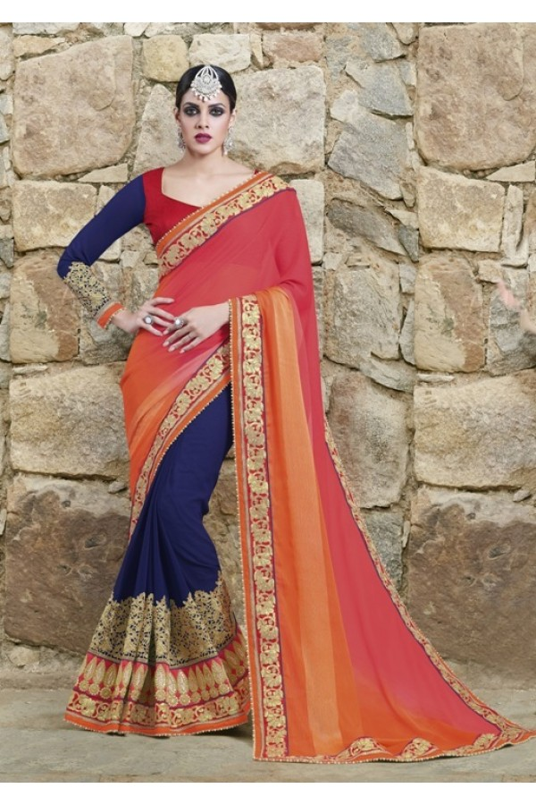 Ethnic Wear Chiffon Georgette Blue Saree - 2416