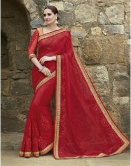 Ethnic Wear Crepe Chiffon Red Saree - 2402