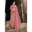 Ethnic Wear Georgette Net Pink Saree - 2408