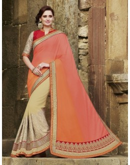 Party Wear Chiffon Cream Saree - 2407