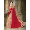Party Wear Chiffon Net Cream & Red Saree - 2406