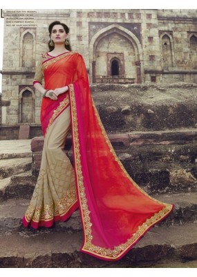 Party Wear Crepe Chiffon Georgette Beige Saree - 2415