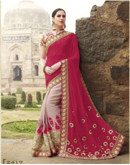 Party Wear Georgette Cream Saree - 2417