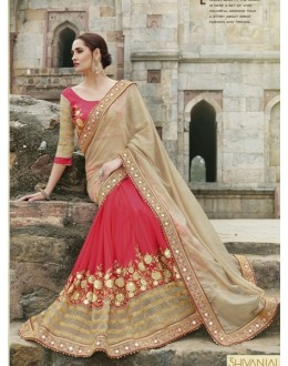 Party Wear Glitter Georgette Pink Saree - 2418