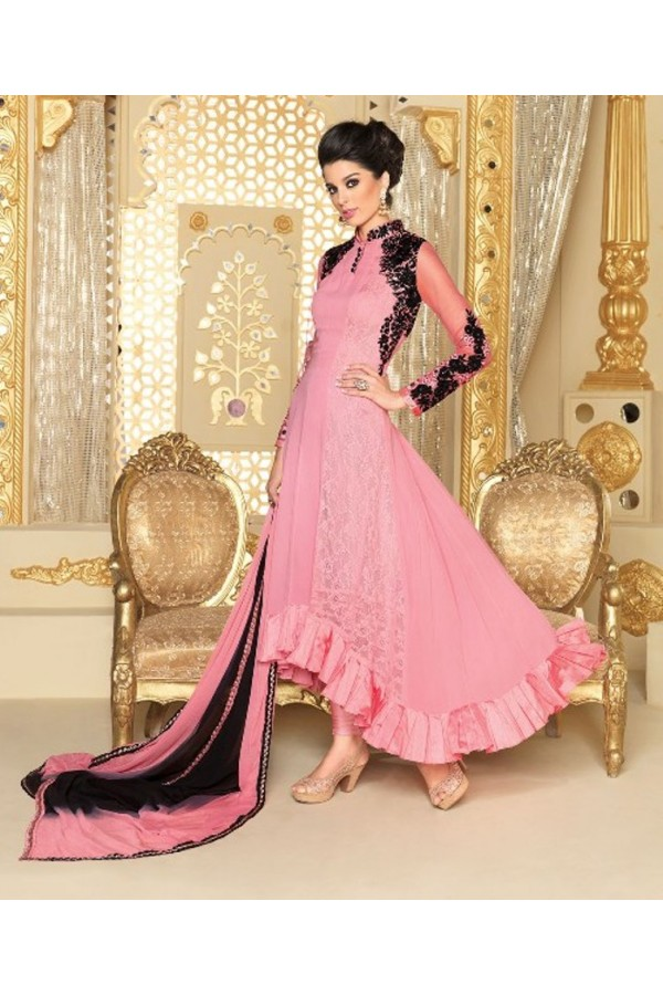 Designer Georgette Embroidered Party Wear Pink Anarkali Salwar Suit - 3708 ( SS-Vipul-3701 )