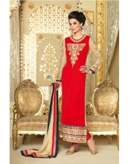 Designer Georgette Embroidered Party Wear Red Salwar Suit - 3702 ( SS-Vipul-3701 )