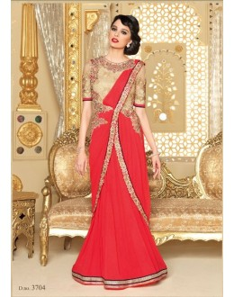 Designer Georgette Embroidered Party Wear Red Salwar Suit - 3704 ( SS-Vipul-3701 )