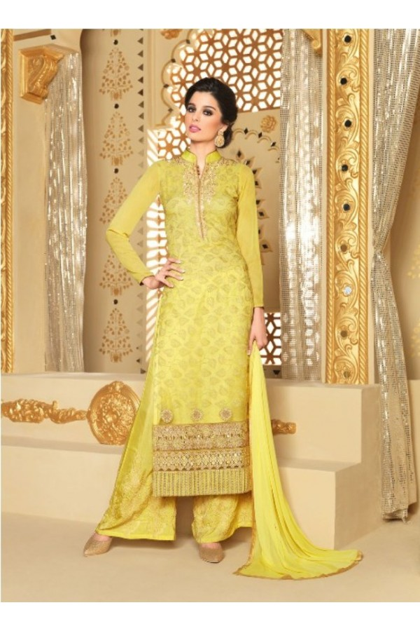 Designer Georgette Embroidered Party Wear Yellow Palazzo Suit - 3707 ( SS-Vipul-3701 )
