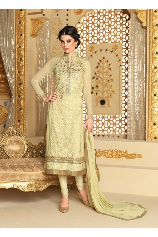 Designer Net & Georgette Embroidered Party Wear Cream Salwar Suit - 3710 ( SS-Vipul-3701 )