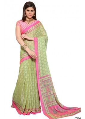 Party Wear Sea Green & Pink Georgette Saree  -1542