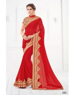 Ethnic Wear Red Pure Silk Saree  - SASYA-2201