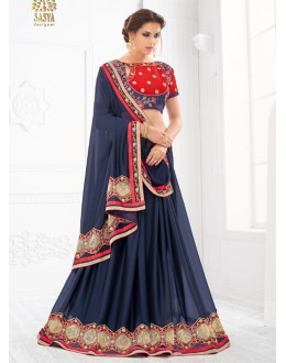 Festival Wear Blue & Red Saree  - SASYA-2202
