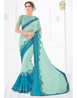 Festival Wear Blue Pure Silk Saree  - SASYA-2204