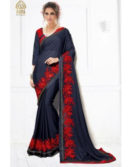 Party Wear Navy Blue Pure Silk Saree  - SASYA-2205