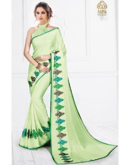 Party Wear Light Green Pure Silk Saree  - SASYA-2206