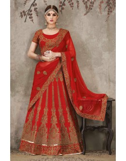 Bridal Wear Red Pure Silk Lehenga Choli - SASYA-2303