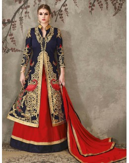 Wedding Wear Navy Blue & Red Lehenga Suit  - SASYA-2308