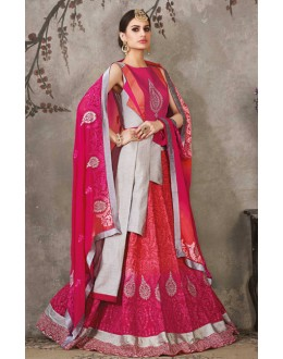 Party Wear Grey & Pink Lehenga Suit  - SASYA-2310