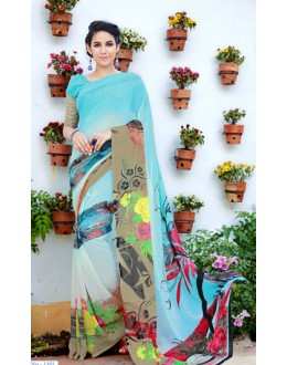 Casual Wear Sky Blue Georgette Saree  - 1101