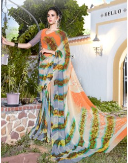 Casual Wear Multicolour Georgette Saree  - 1108