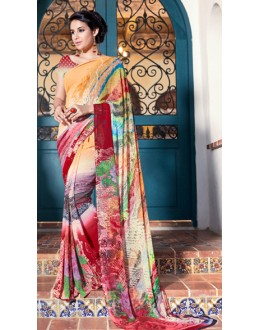 Casual Wear Multicolour Georgette Saree  - 1111