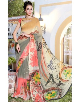 Casual Wear Multicolour Georgette Saree  - 1115