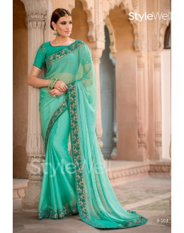Sea Green Chiffon Embroidery Saree  - B-103