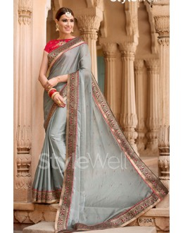 Traditional Grey Chiffon Embroidery Saree  - B-104