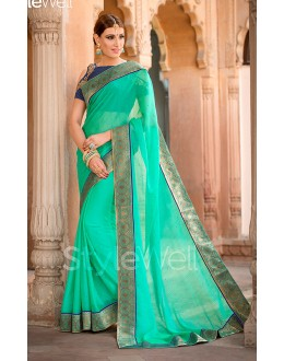Ethnic Wear Sea Green Chiffon Saree  - B-106