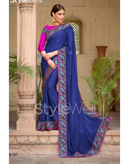 Festival Wear Navy Blue Chiffon Saree  - B-107