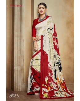 Party Wear Cream & Red Crepe Silk Saree  - SUSHMA-1902-A