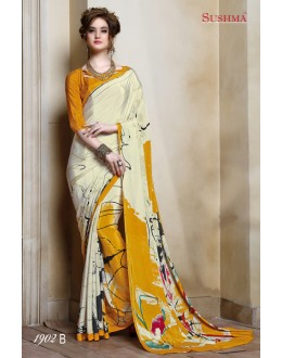 Ethnic Wear Cream & Yellow Crepe Silk Saree  - SUSHMA-1902-B