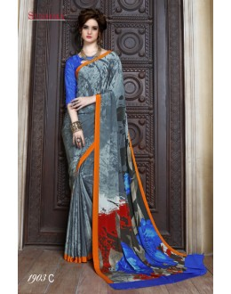 Multi-Colour Crepe Silk Printed Saree  - SUSHMA-1903-C