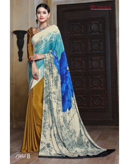 Multi-Colour Crepe Silk Half & Half Saree  - SUSHMA-1905-B