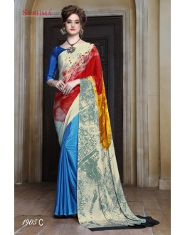 Crepe Silk Multi-Colour Half & Half Saree  - SUSHMA-1905-C