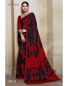 Festival Wear Black & Red Crepe Silk Saree  - SUSHMA-1907-A