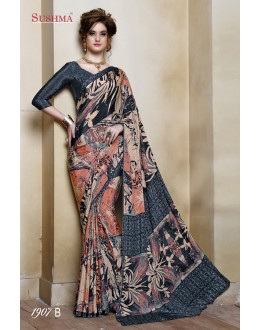 Party Wear Multi-Colour Crepe Silk Saree  - SUSHMA-1907-B