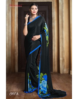 Party Wear Black Crepe Silk Saree  - SUSHMA-1908-A