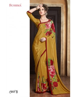 Festival Wear Yellow Crepe Silk Saree  - SUSHMA-1908-B