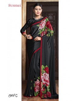 Ethnic Wear Black Crepe Silk Saree  - SUSHMA-1908-C
